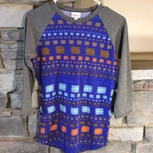 Lularoe XXS 3/4 length sleeve shirt Grey and Blue